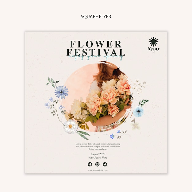 Flower festival concept square flyer template Free Psd