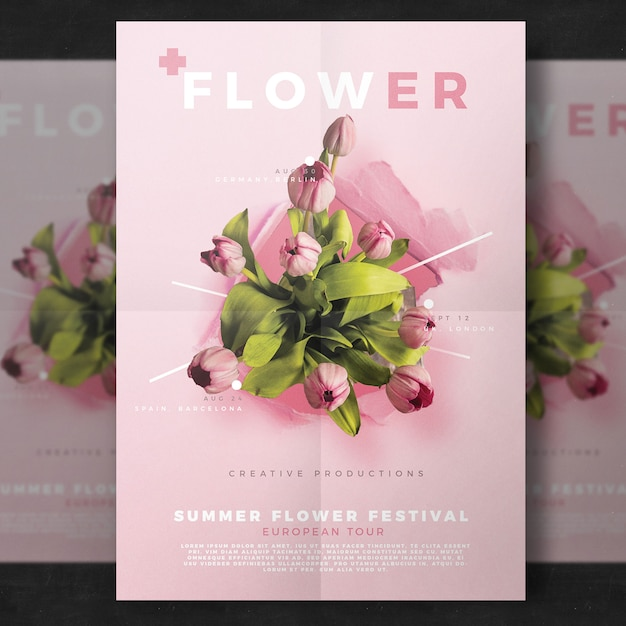 Flower flyer template Free Psd