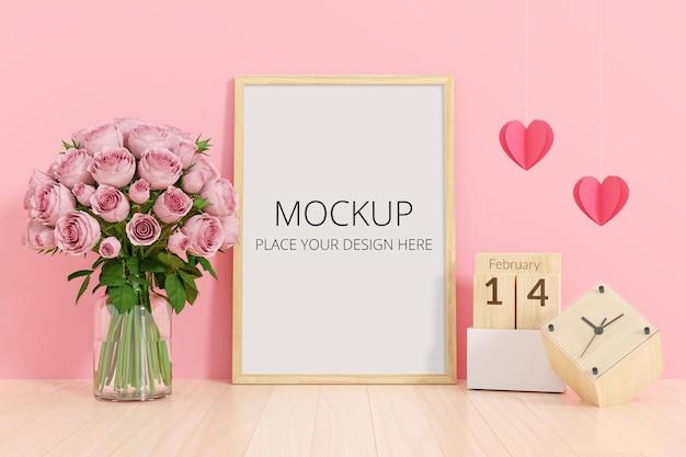 프레임 모형과 꽃병에 꽃 무료 PSD 파일