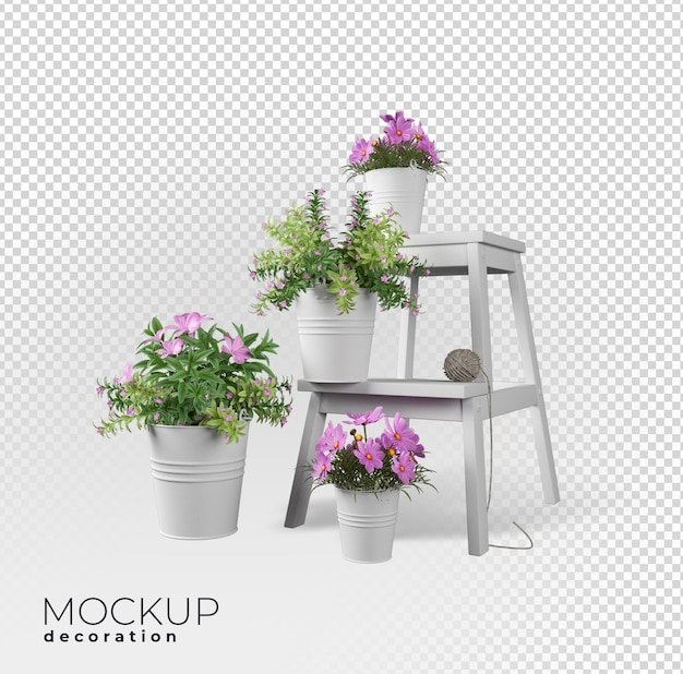 3dレンダリングの花の室内装飾 Premium Psd