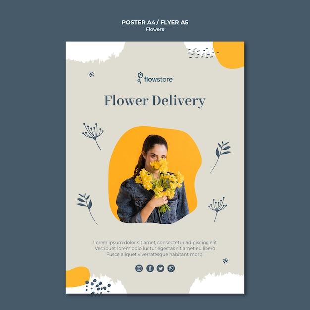 Шаблон плаката бесплатной доставки цветочного магазина Бесплатные Psd