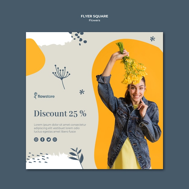 Flower shop with discount square flyer template Free Psd