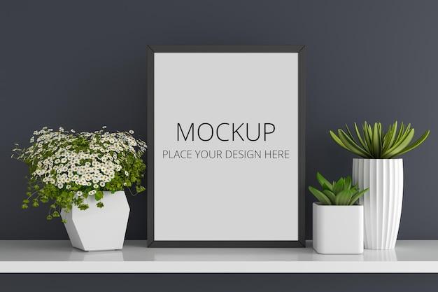 フレームモックアップと花とジューシーなポット 無料 Psd