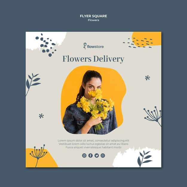 Flowers delivery business square flyer template Free Psd