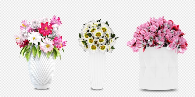 고립 된 3d 렌더링에 꽃병에 꽃 프리미엄 PSD 파일