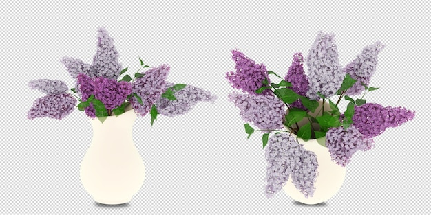 分離された3dレンダリングの花瓶の花 Premium Psd