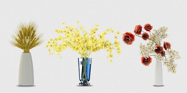 고립 된 3d 렌더링에 꽃병에 꽃 식물 프리미엄 PSD 파일