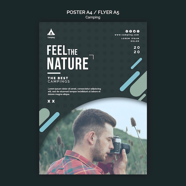 Flyer camping place template Free Psd