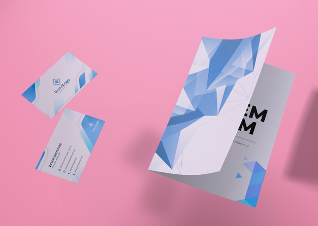 Flyer and card brand company business mock-up paper Free Psd