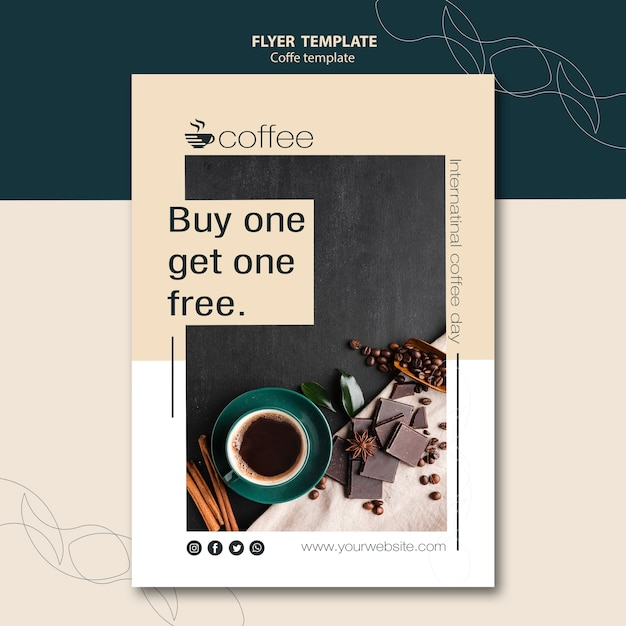 Flyer card template theme with coffee Free Psd
