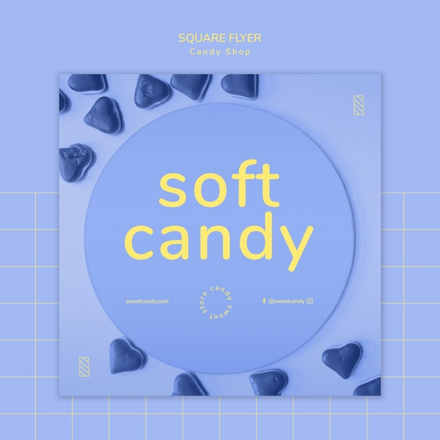 Flyer concept for candy shop template Free Psd