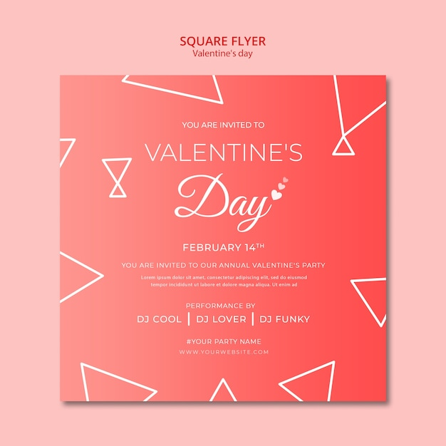 Flyer concept for valentines day template Free Psd