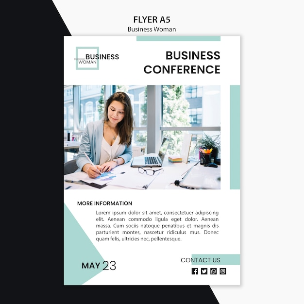 Flyer concept with business woman design Free Psd