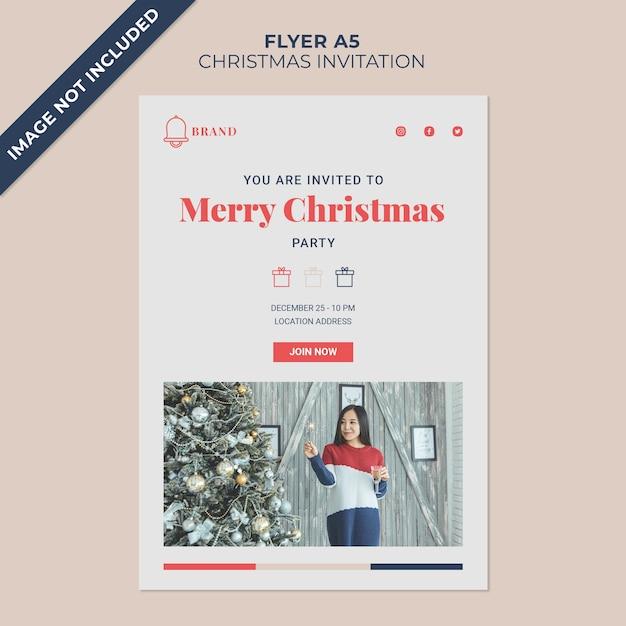 크리스마스 초대 전단 표지 템플릿 프리미엄 PSD 파일