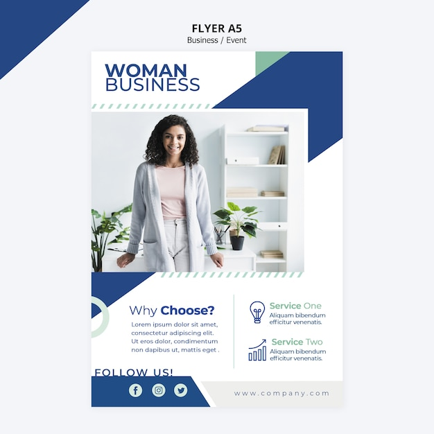 Flyer design for business woman template Free Psd