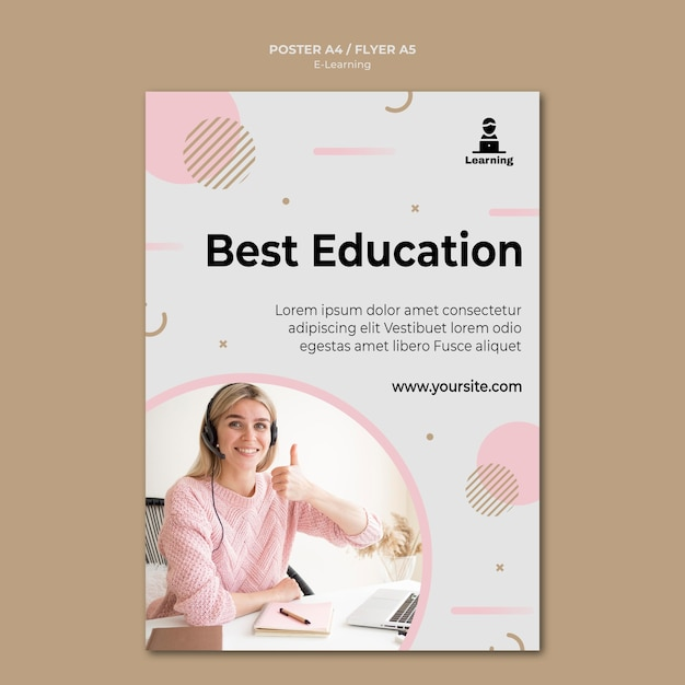 Flyer design e-learning concept Free Psd