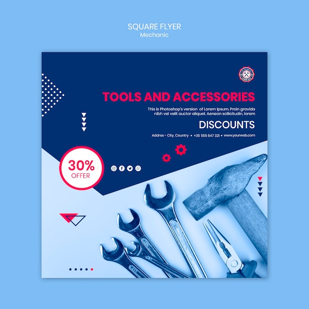Flyer design with mechanic theme Free Psd