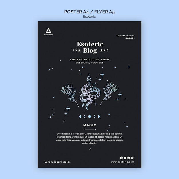 Flyer for esoteric blog Free Psd