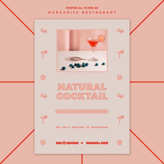 Флаер коктейльного напитка маргарита Premium Psd