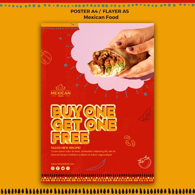 メキシコ料理レストランのチラシ 無料 Psd