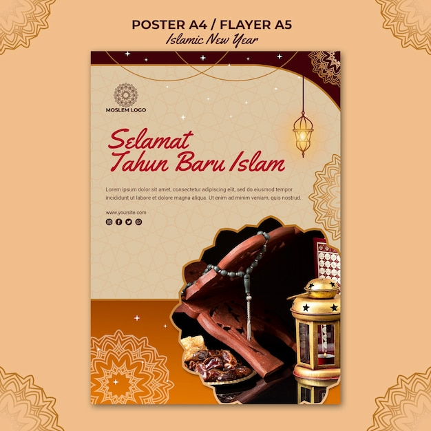 Flyer islamic new year template Free Psd