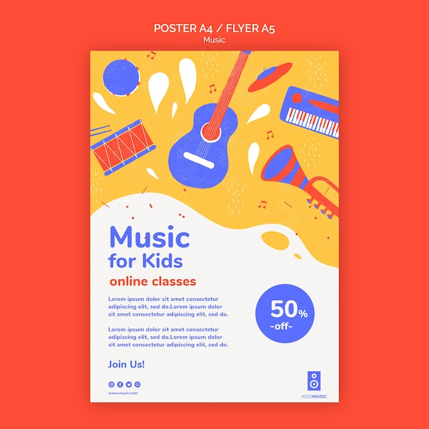 Modello di piattaforma musicale per bambini flyer Psd Gratuite