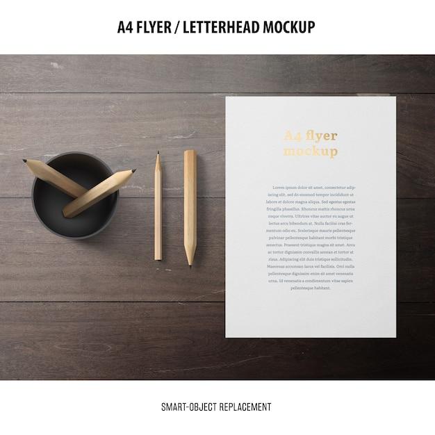 Flyer or letterhead mockup Free Psd