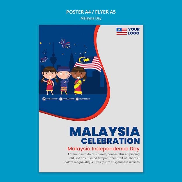 Volantino per la celebrazione dell'anniversario del giorno della malesia Psd Gratuite