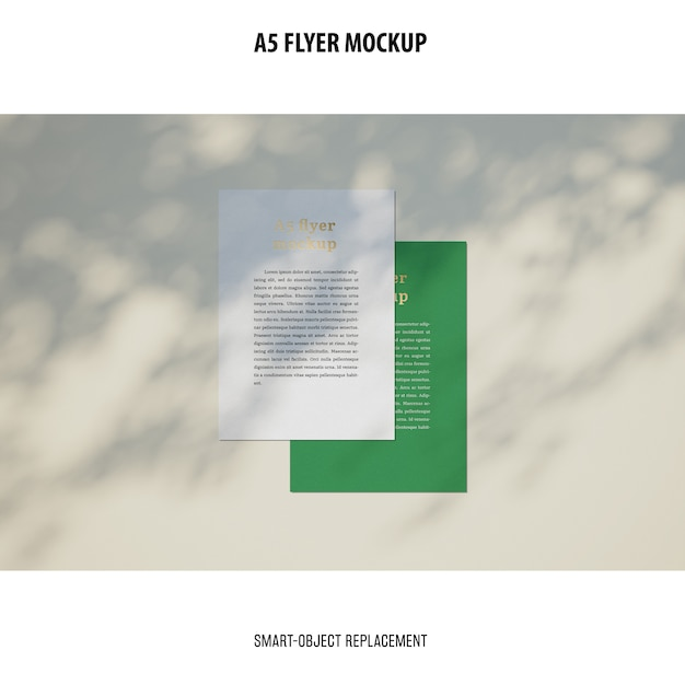 Flyer mockup in a desktop Free Psd