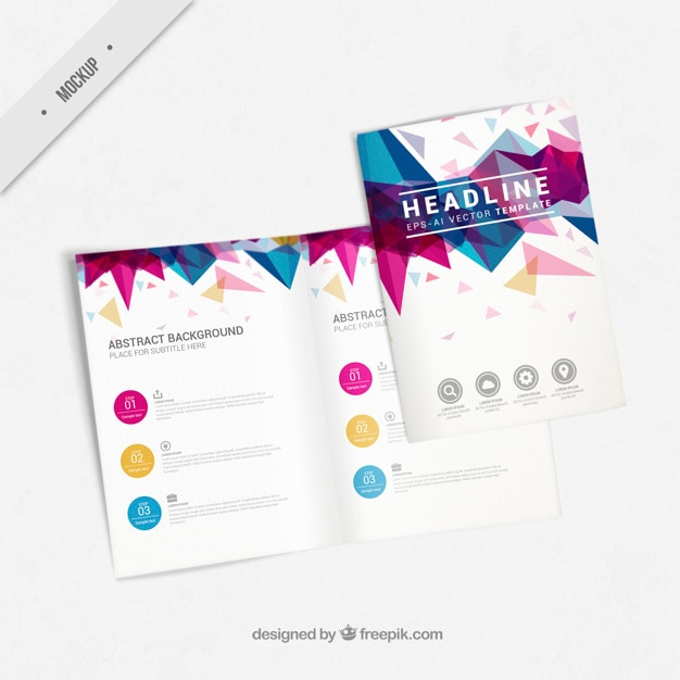 Flyer mockup with abstract shapes Free Psd
