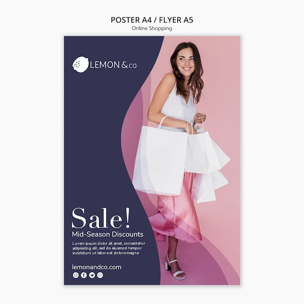 Flyer for online fashion sale Free Psd