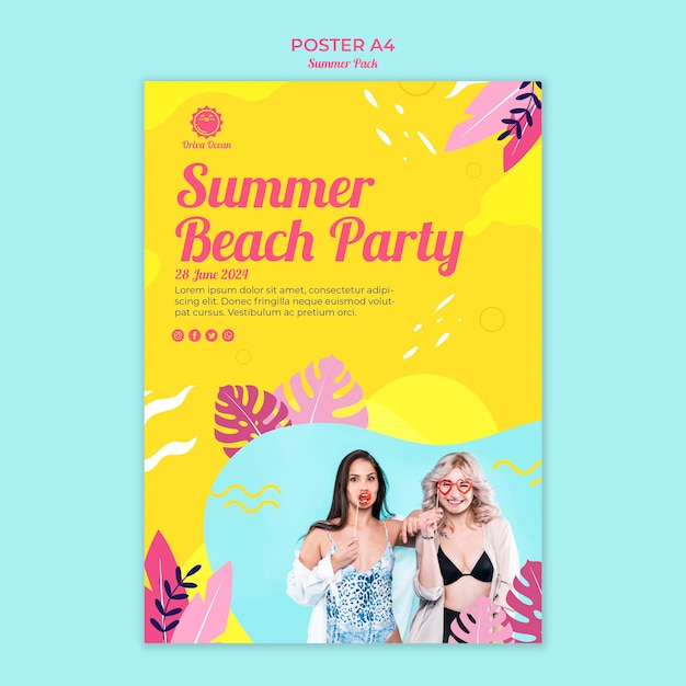 Flyer for for summer beach party Free Psd