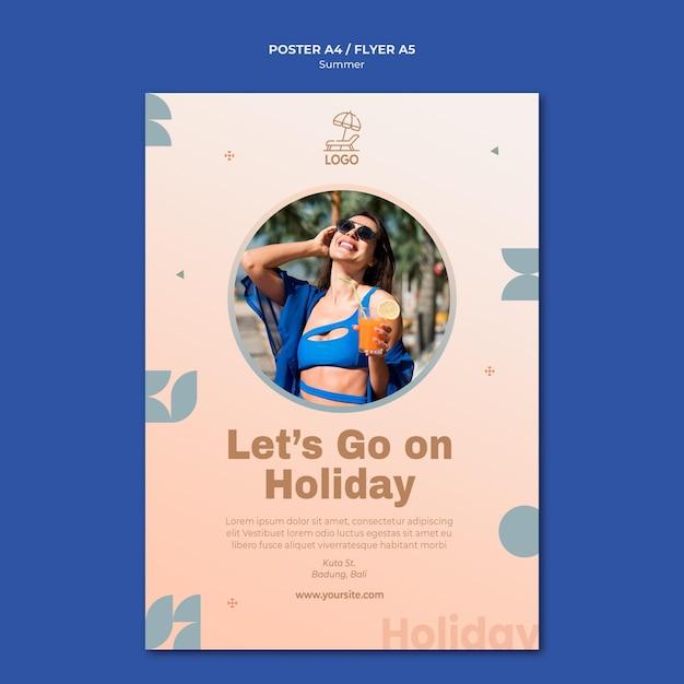 Flyer summer travel template Free Psd