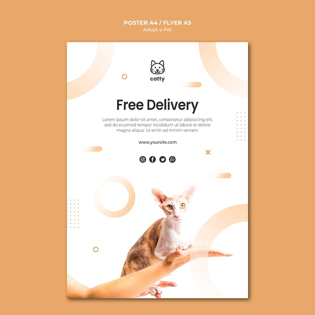 Flyer template for adopting a pet Free Psd