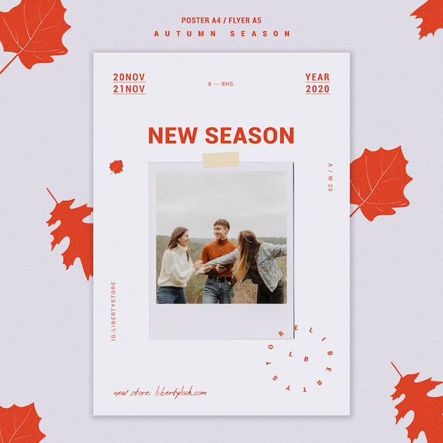 Flyer template for autumn new clothing collection Free Psd
