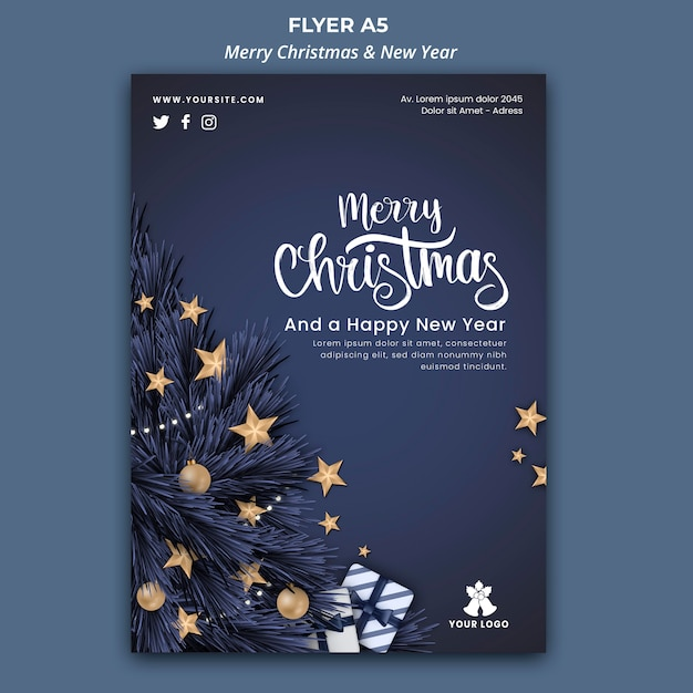 Flyer template for christmas and new year Free Psd