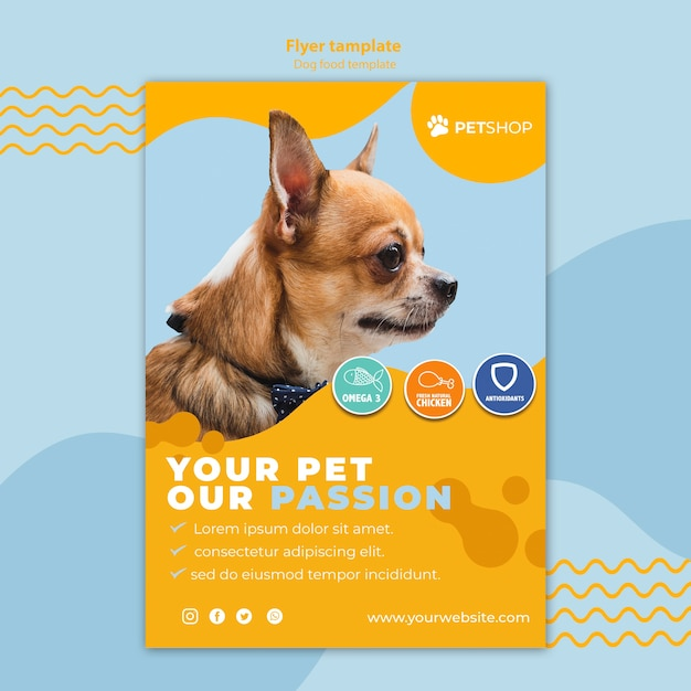 Flyer template concept for pet shop Free Psd