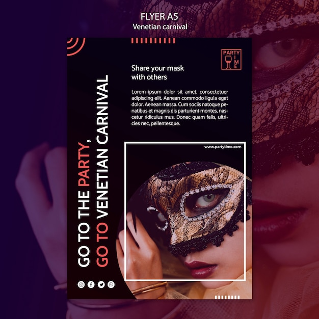 Flyer template concept for venetian carnival Free Psd