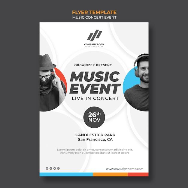Flyer template for concert Premium Psd