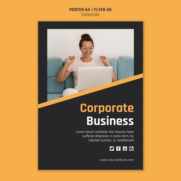 Flyer template for corporate business Free Psd