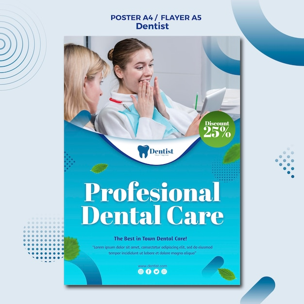 Flyer template for dental care Free Psd