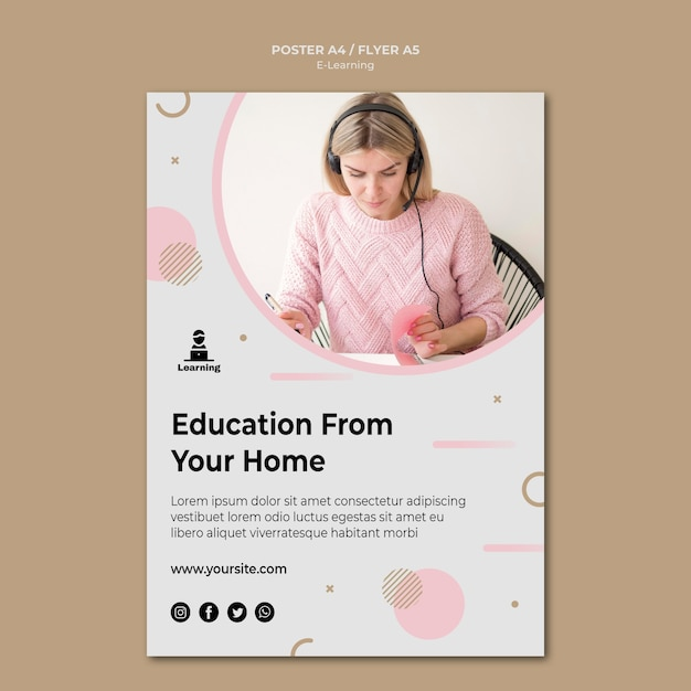 Flyer template design e-learning concept Free Psd