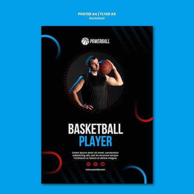 Шаблон флаера для игры в баскетбол Бесплатные Psd
