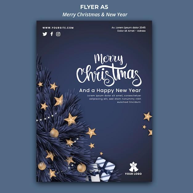 Шаблон флаера на рождество и новый год Бесплатные Psd