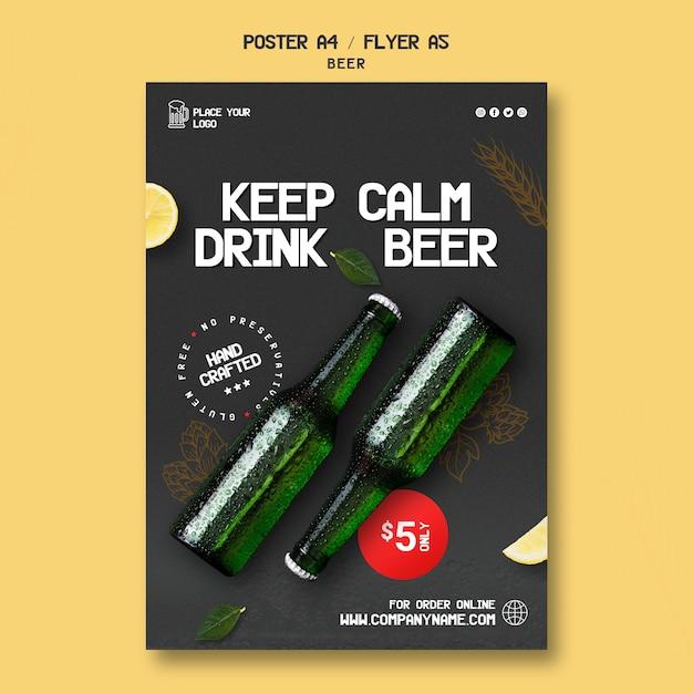 Шаблон флаера для питья пива Бесплатные Psd