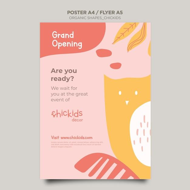 Шаблон флаера для магазина детского декора Бесплатные Psd