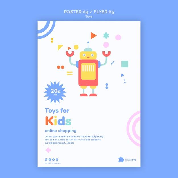 아이 장난감 온라인 쇼핑을위한 플라이어 템플릿 무료 PSD 파일