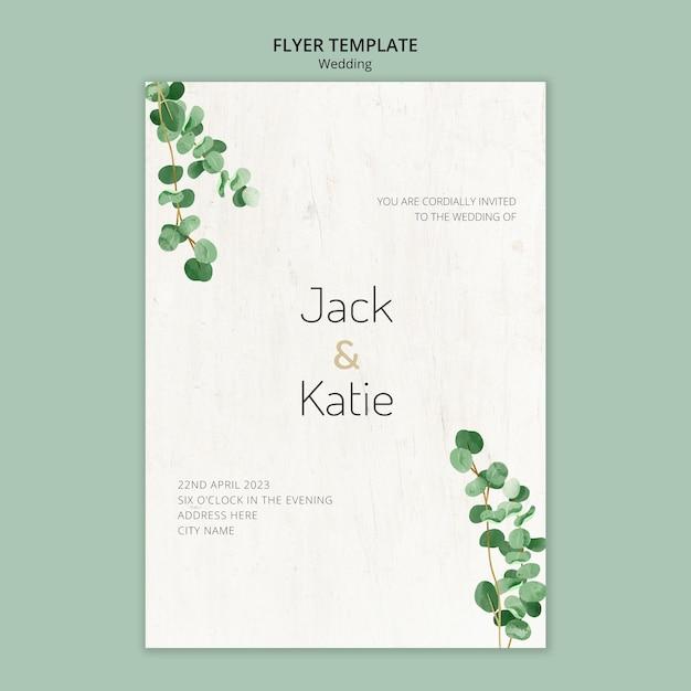 Флаер шаблон для свадьбы с листьями Бесплатные Psd