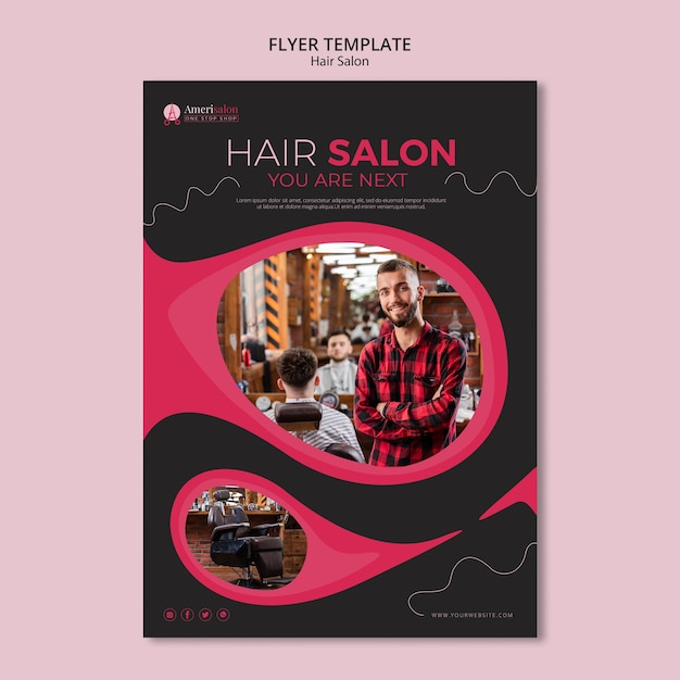 Flyer template for hair salon Free Psd