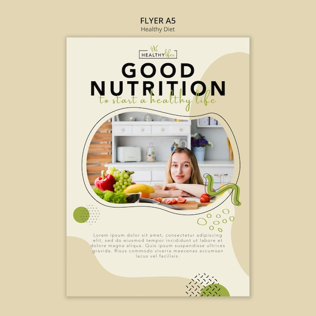 Flyer template for healthy nutrition Free Psd